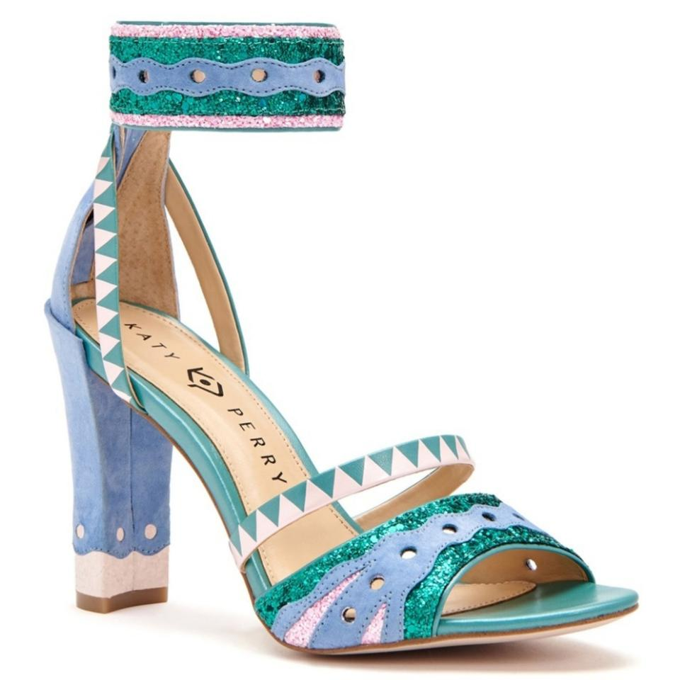 e12e21d081e9 Katy Perry Turquoise Periwinkle Pink Suede Mermaid Sandals Size US ...
