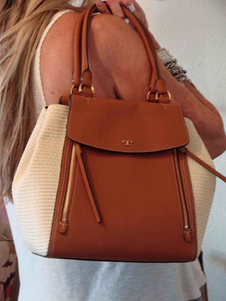 3800129d0205 Tory Burch Half-Moon Large Natural/Classic Tan Pebbled Leather/Pu Straw  Tote 33% off retail