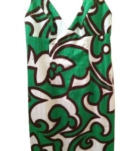 Green, white, and brown print Maxi Dress by MILLY