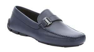 Prada Baltic Blue Mens Saffiano Leather Driver/Loafer Sz.10us/9uk Shoes