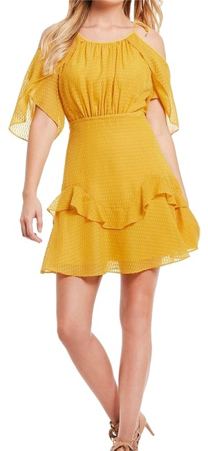 Item - Gold Shoulder Fit and Flare Short Casual Dress Size 2 (XS)