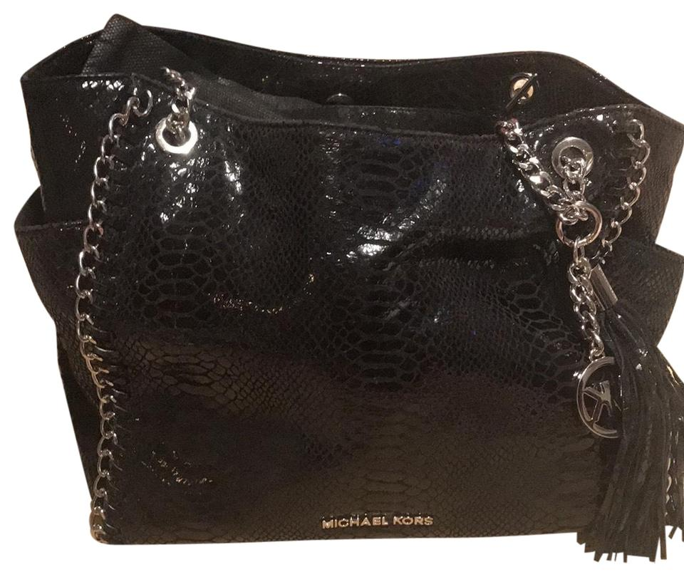 3704682e59785 Michael Kors Snakeskin Embossed Black Leather Satchel - Tradesy