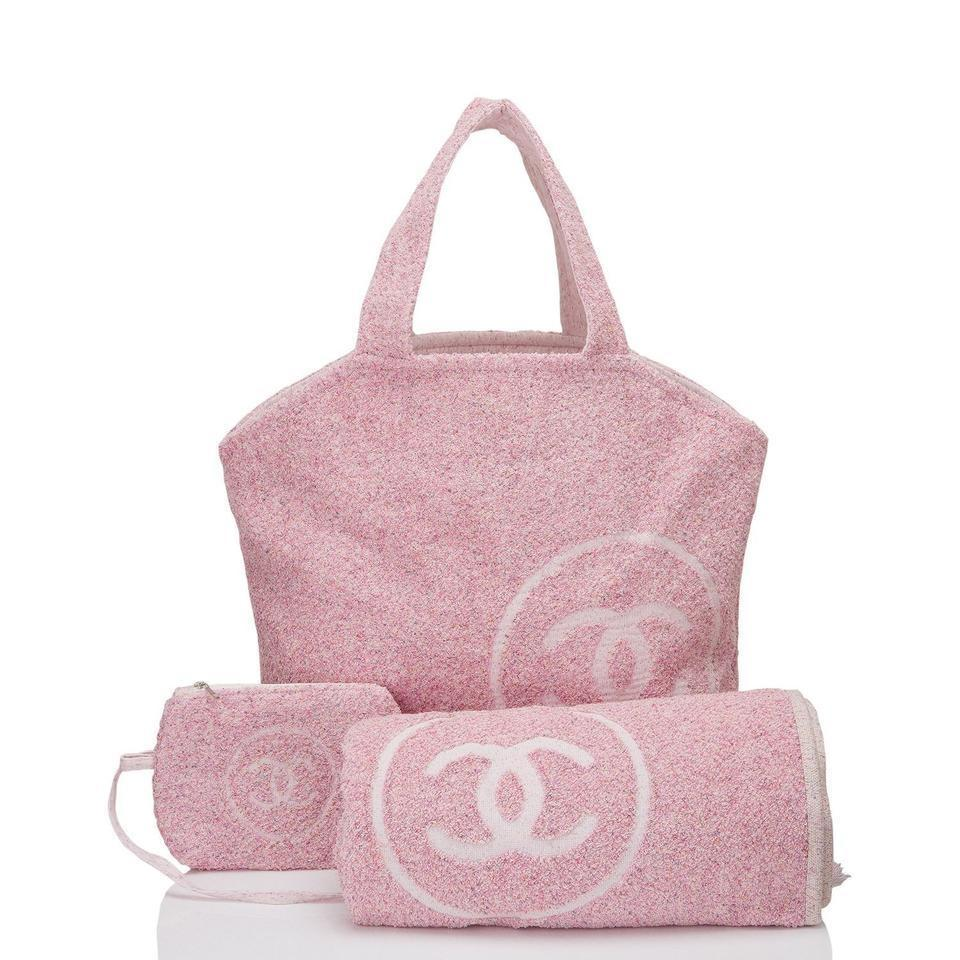 Chanel Tote And Towel Set Pink Cotton Beach Bag Tradesy