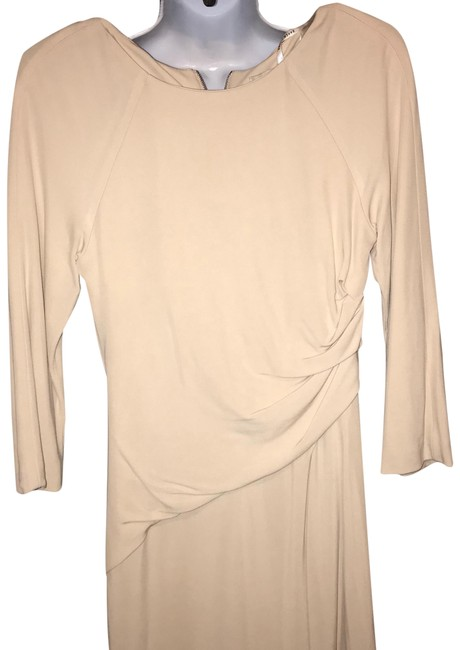 Item - Cream Lined Ruched Mid-length Work/Office Dress Size 6 (S)