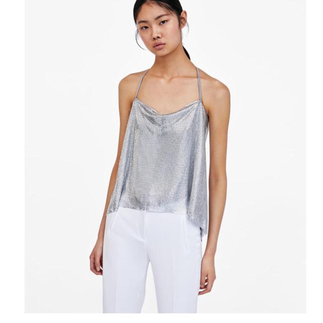 Item - Special Edition Metallic Sequin Mesh Silver Top