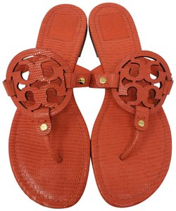 Tory Burch Hardware Miller Reva Logo Patent Leather Orange, Gold Sandals