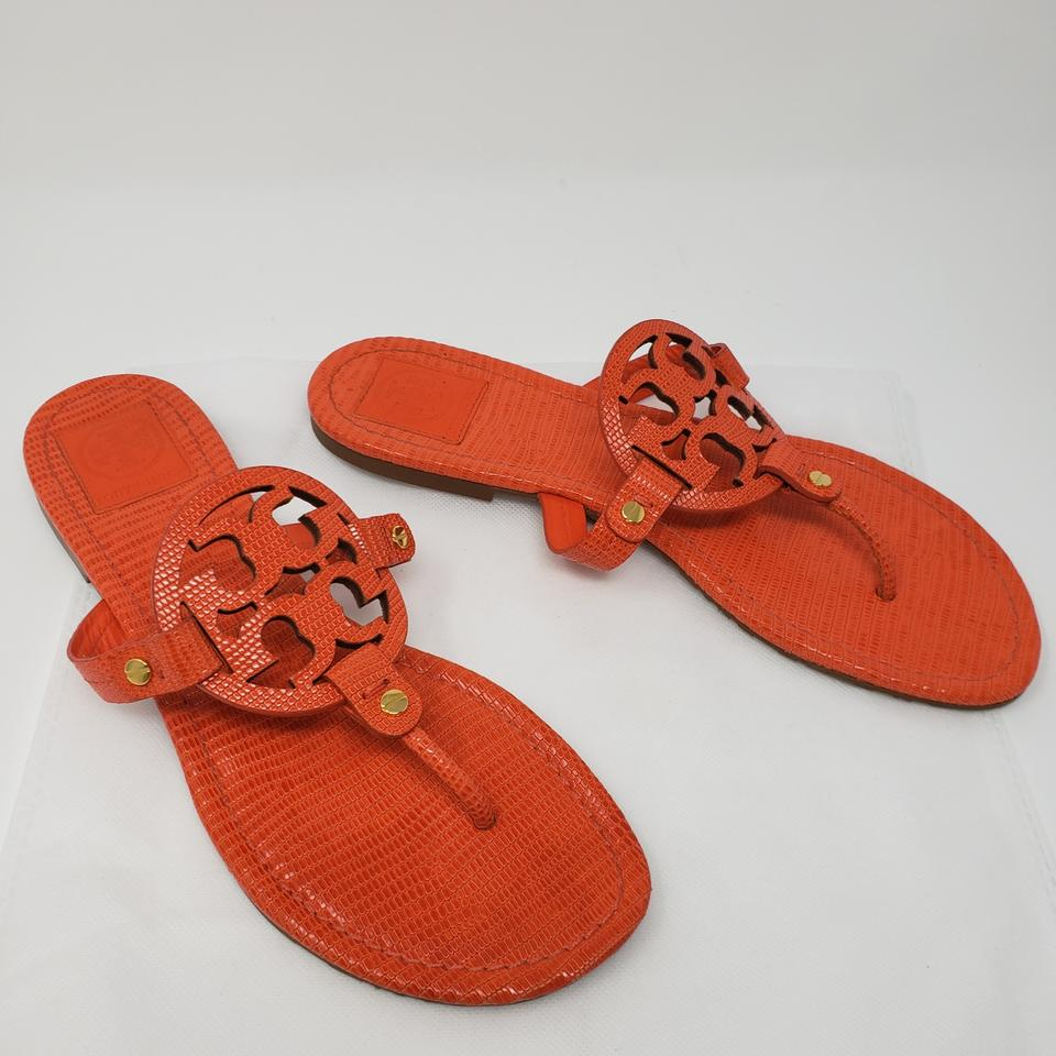 5eccefbd6d6 Tory Burch Orange Gold Patent Leather Miller Slide Sandals. Size  US ...
