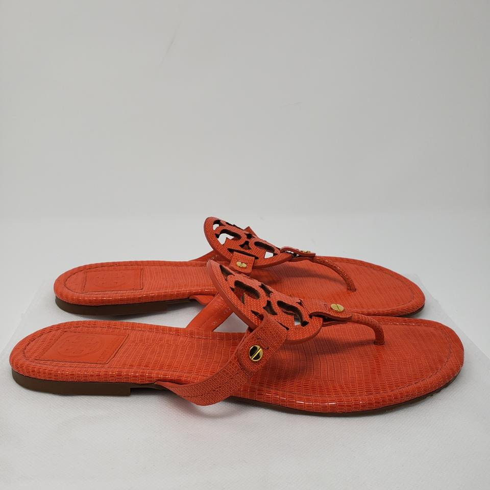 b7ad1d1dd35 Tory Burch Orange Gold Patent Leather Miller Slide Sandals Size US ...