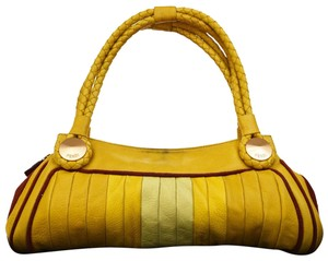 Fendi Mint Condition Rare Style Body Great Pop Of Color Satchel in yellow pleated leather and red suede