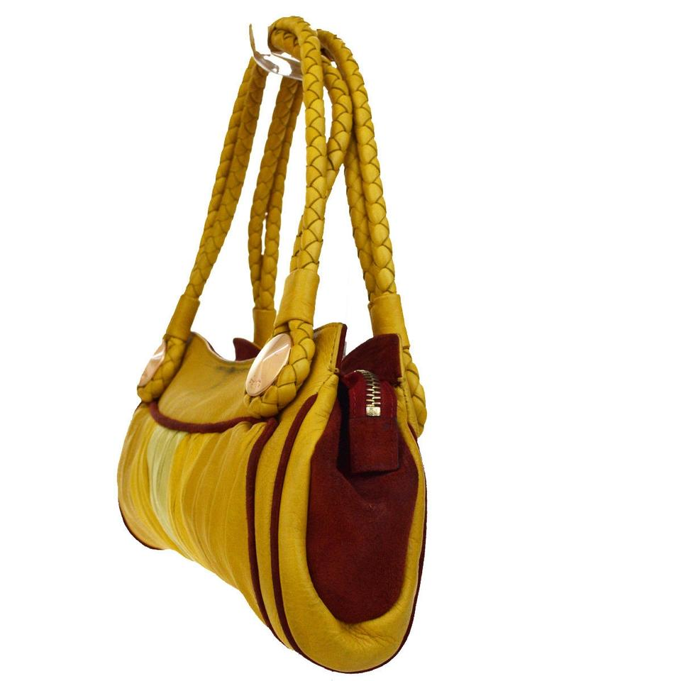 771795bf58f7 Fendi Purses Designer Purses Yellow Pleated Leather and Red Suede Lambskin  Satchel