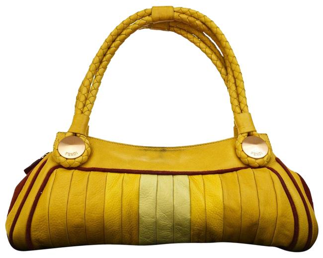 Item - Style Purse Yellow Leather/Red Suede Lambskin Satchel