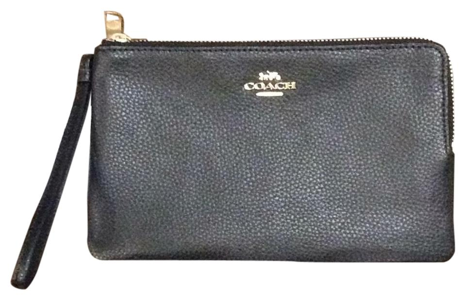 Coach Wristlet Wallet Bobble Zip F87587 Imblk Black Leather Wristlet ... 8a84b112c0c06