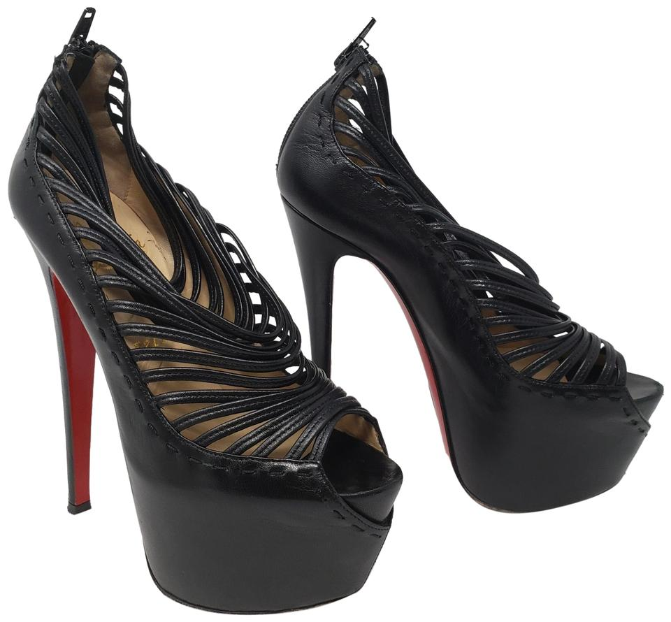 cc7fca228ab Christian Louboutin Black Leather Zoulou Peep-toe Platform Boots Booties
