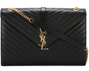 Saint Laurent Calfskin Monogram Gold Hardware Shoulder Bag