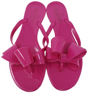 Valentino Jelly Bow Embellished Rubber Rockstud Pink Sandals