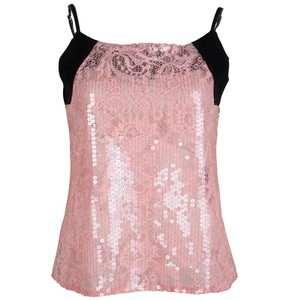Balenciaga Lace Sequin Embellished Sleeveless Polyester Top pink