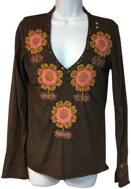 Item - Brown Embroidered Cotton Poly S Blouse Size 6 (S)