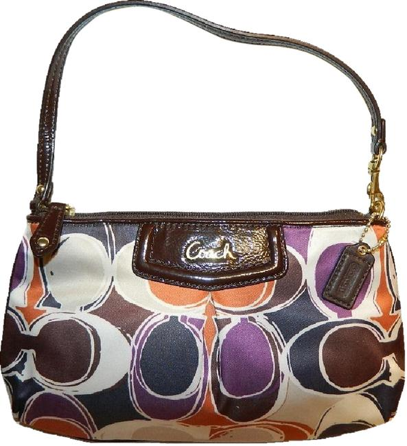 Item - Ashley New~gorgeous Signature Scarf Print Large Wristlet Or Bagu Violet Purple/Gold/Mahogany Brown/Amber Orange/Navy Blue/Khaki Sateen/Patent & Cowhide Leather Baguette