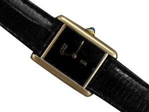 Cartier Cartier Vintage Mens Tank Watch with Black Dial - Gold Vermeil, 18K Go