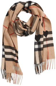 Burberry New Burberry Heart & Giant Check Fringed Cashmere Scarf, Camel