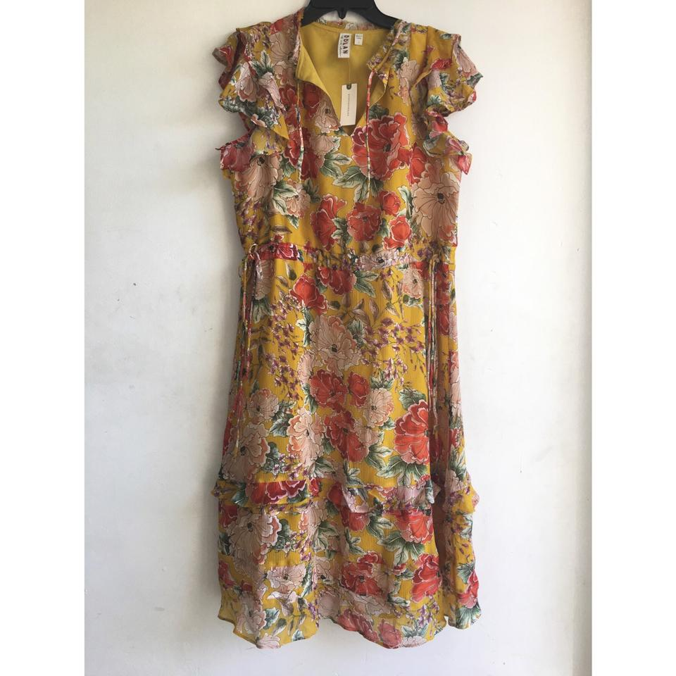 11877405c3148 Anthropologie Yellow Floral Silk By Dolan Left Coast Mid-length ...