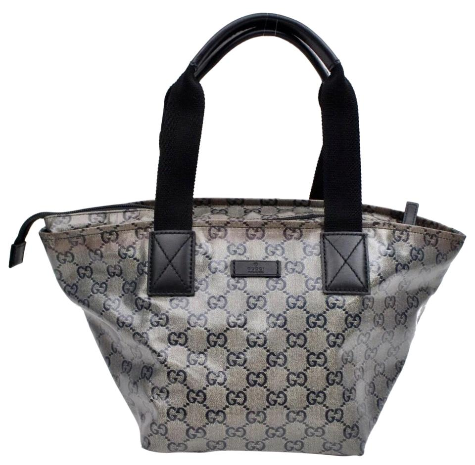 efd76dd80cc Gucci Signature Monogram with Web Handles   Metallic Navy Coated Canvas Tote