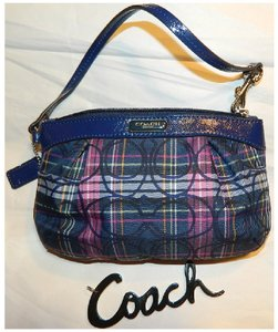 Coach Tartan Pin Stripes Clutch Wristlet in Navy Blue/Multicolor/Silver/Black