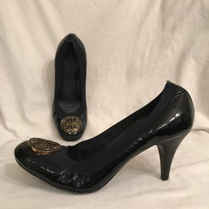 Tory Burch Patent Leather Leather Kitten Chunky Comfortable Blue Black Gold Pumps