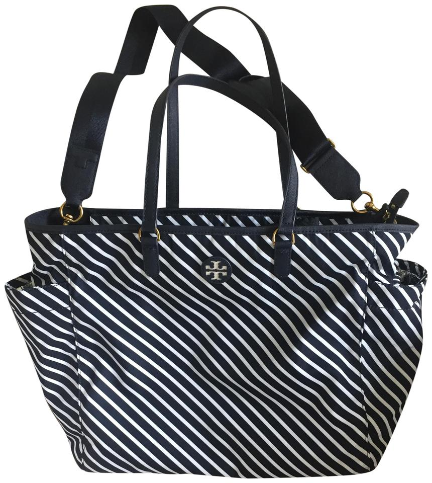 7ed64ff4bc Tory Burch Scout Barely Used Striped Navy Nylon Diaper Bag - Tradesy