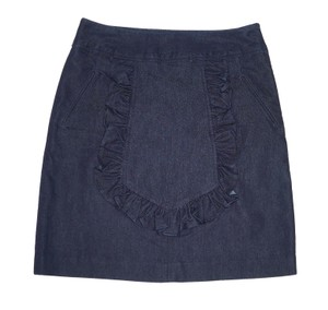 Anthropologie Denim Jean Cotton Pencil Ruffled Mini Skirt