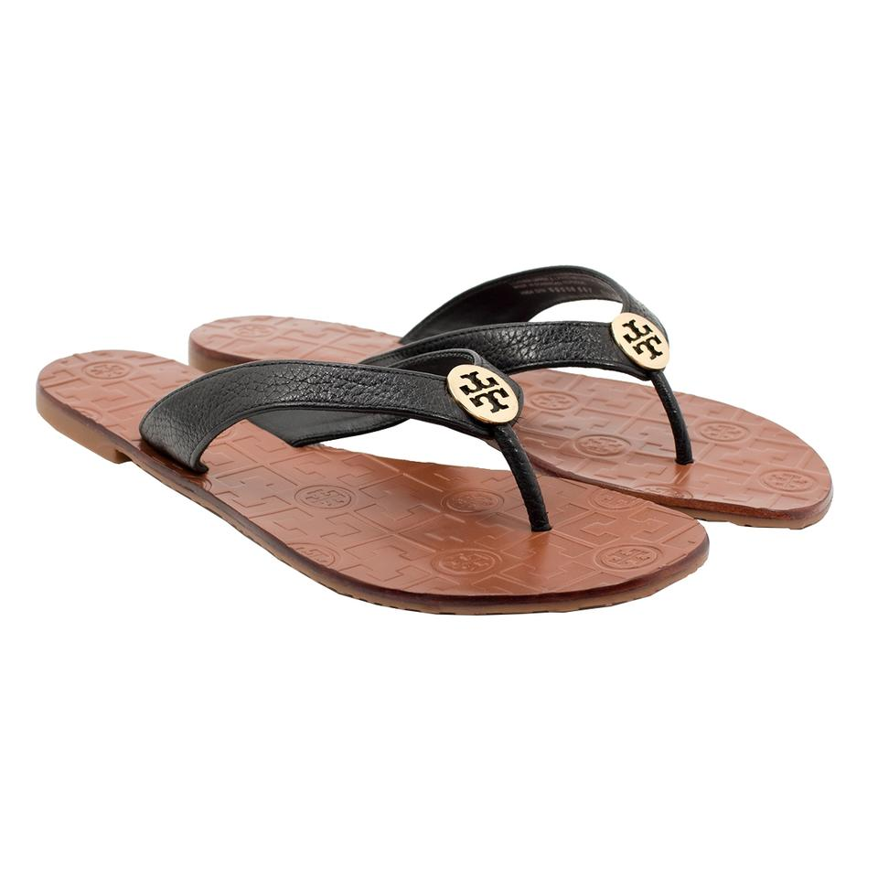 3b87f32a88d Tory Burch Black/Gold Thora Tumbled Leather Thong Black/Gold Sandals ...