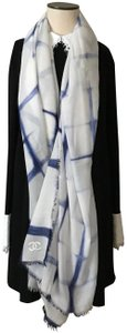 Chanel Large Blue/White Cashmere Silk Checker Stole Scarf
