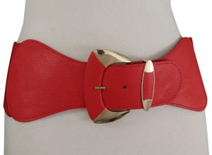 Alwaystyle4you Women Red Elastic Wide Belt Hip High Waist Gold Metal Buckle S-M