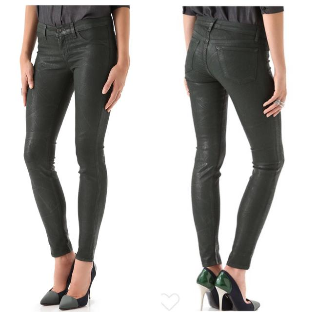 Item - Conifer Green Coated 901 Textured Leather Look Super Skinny Jeans Size 00 (XXS, 24)