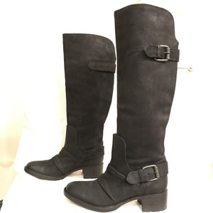Vera Wang Lavender Label Suede Distressed Leather Riding Biker Black Boots