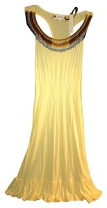 Sweetees short dress Yellow with multi color bead work Beaded Ruffle on Tradesy