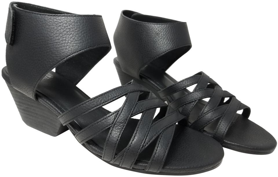 6ae84e30d26d Eileen Fisher Black Ivy Leather Cages Womens Sandals Size US 10 ...