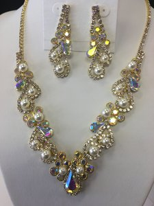 Ab Cream Clear Gold Pearl Pave Rhinestone Necklace Jewelry Set