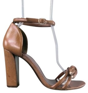 Balenciaga Ankle Strap Knotted Chunky Brown Sandals