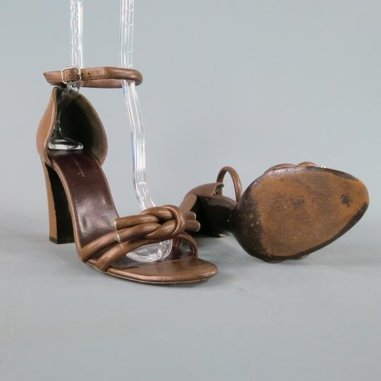 Balenciaga Ankle Strap Knotted Chunky 70's Brown Sandals