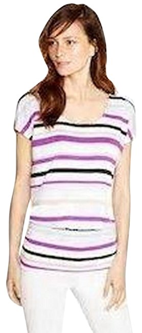 Item - White/Purple/Black Short Sleeve Stripe Blouse Size 14 (L)