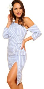 Lulumari short dress Blue White Highslit Striped One Shoulder Sexy Shirtdress on Tradesy