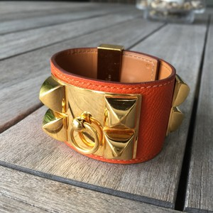 f4d6b7e3d62 Hermès Collier De Chien Epsom Leather Orange Calfskin Gold Hardware Pyramid  Cuff Bracelet Hermes