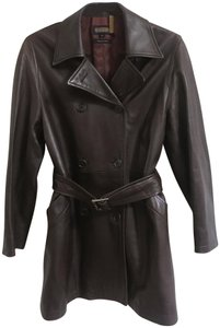 Coach Leather Chocolate Usa Trench Coat