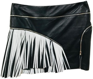 Jay Ahr Two Tone Leather Mini Skirt Black and White