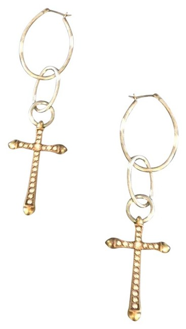 Item - Silver Gold & Crystals Earrings