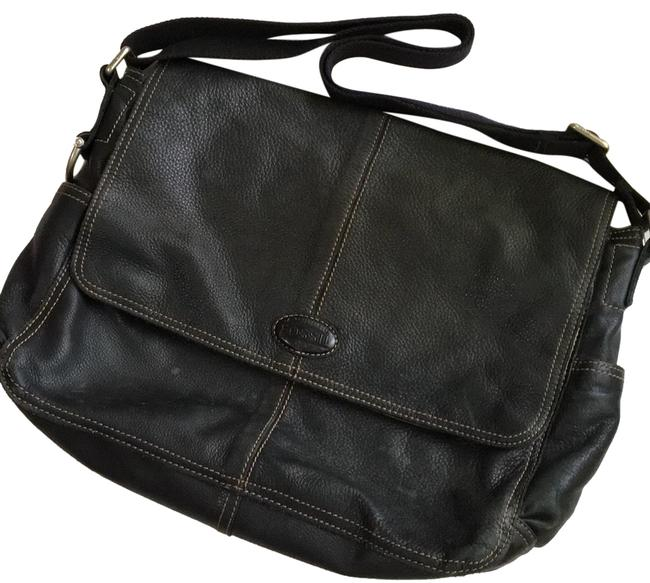 Item - East/West Computer Black Leather Messenger Bag