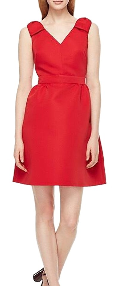 21813e7fdf05 Kate Spade Red Double Bow Structured Short Cocktail Dress Size 14 (L ...