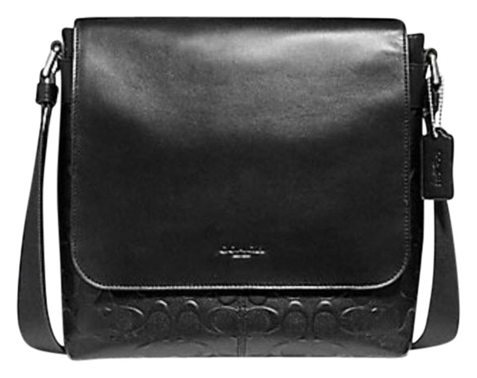 d851bfbff47f Coach Charles Small Signature Crossgrain F72220) Black Leather ...