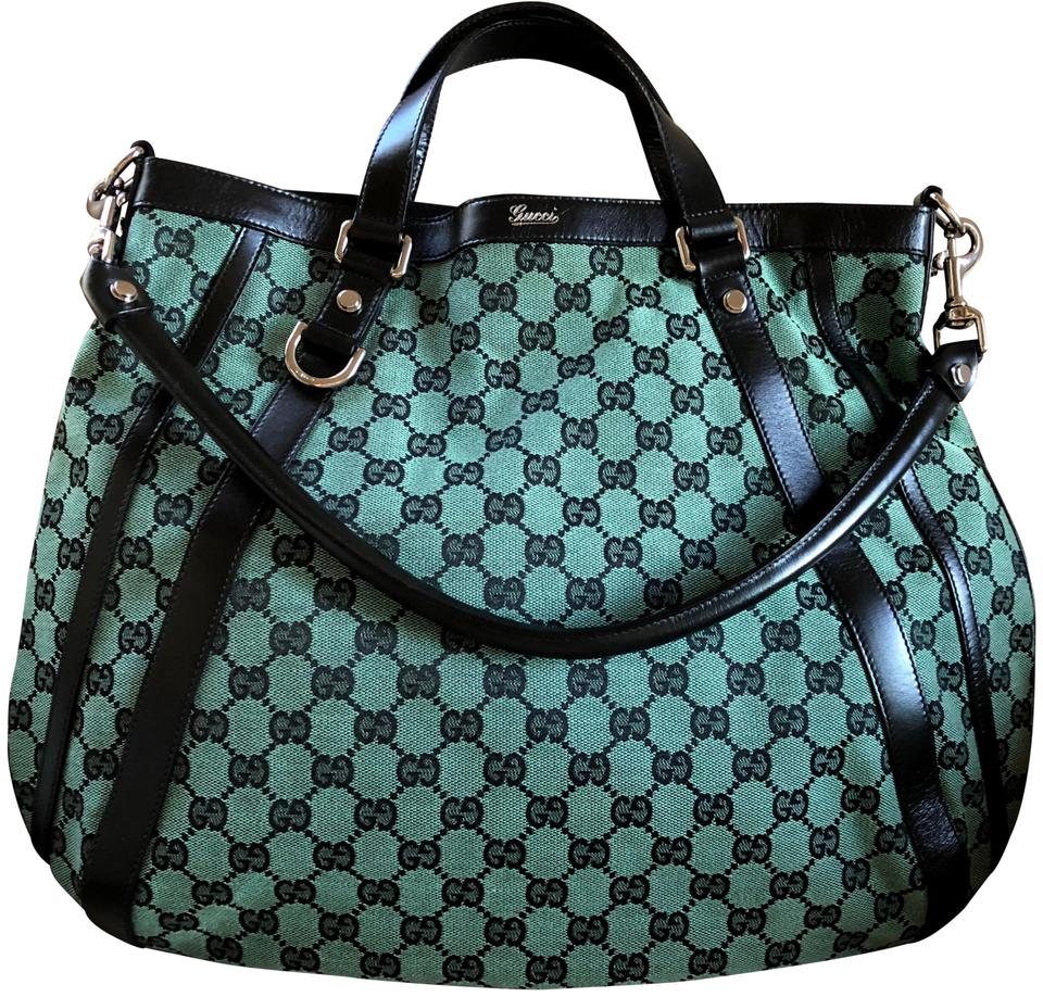 7542bfec3b3 Gucci Abbey D Ring Monogram Black Leather Large Hobo Green Canvas ...